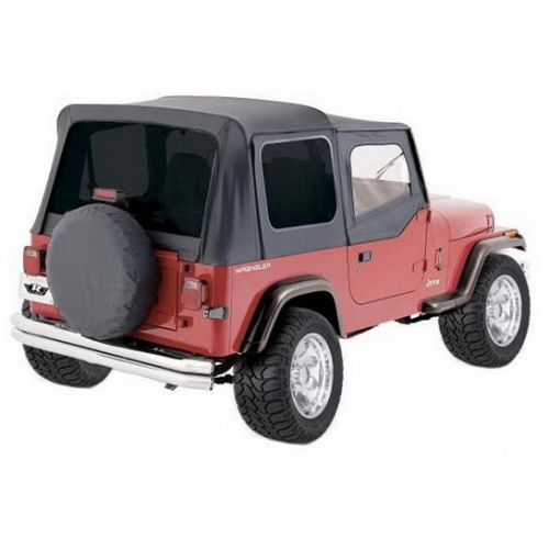 1987-1995 Wrangler YJ Soft Top Denim Black Fabric Includes Soft Half Doors Include Clear Windows Does Not Includes Sun Roof Includes Hardware