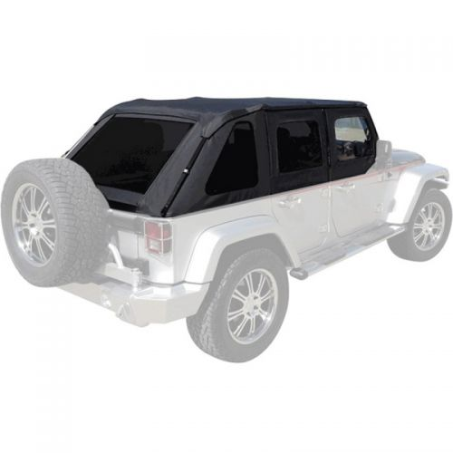 Complete Frameless Trail Top Kit with Tinted Windows - Black Diamond Sailcloth For Jeep Wrangler JK 2007-2017 (4-Door) - Rampage